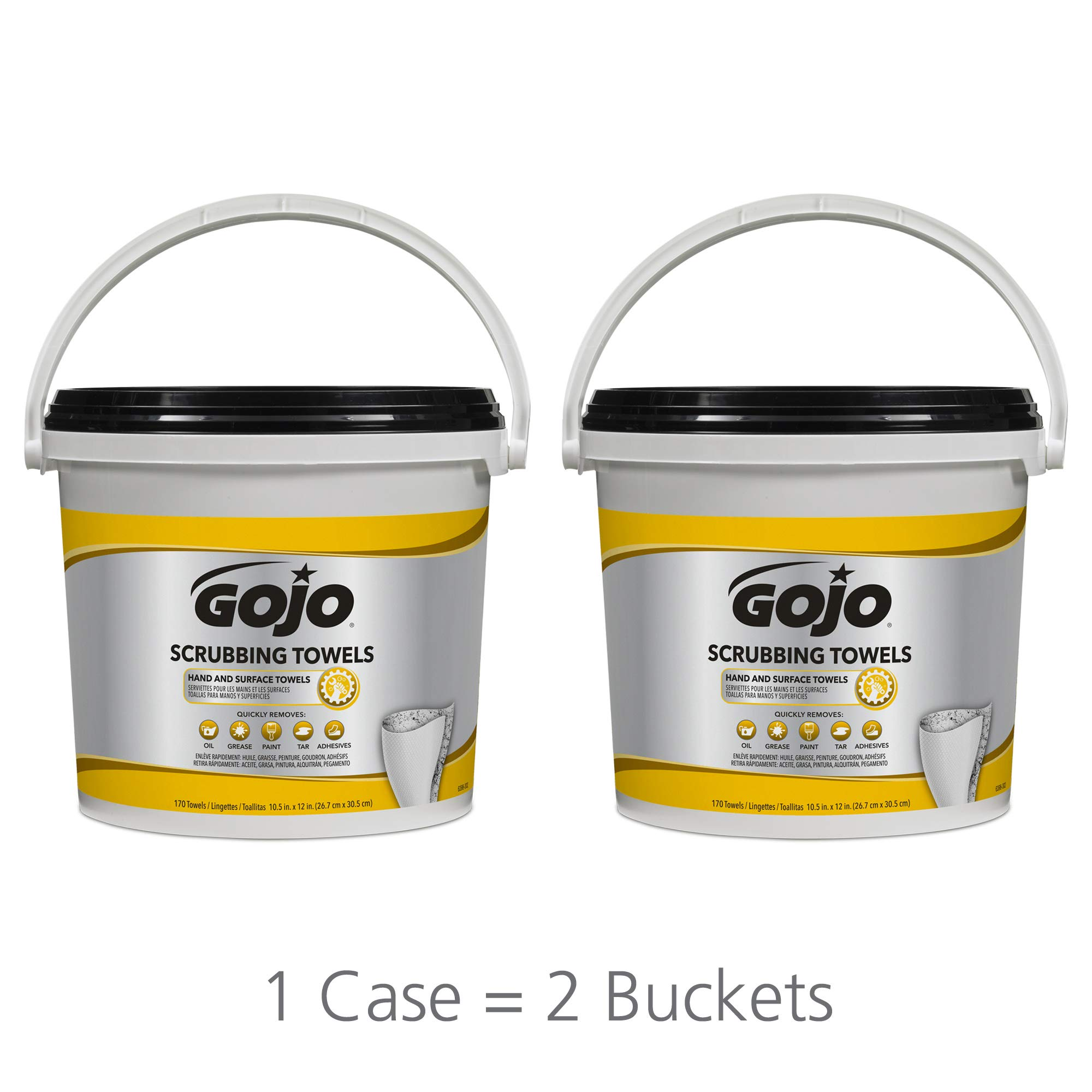GOJO Scrubbing Towels, Fresh Citrus Scent, 170 Count Extra Large Dual Textured Wipes Bucket (Pack of 2) – 6398-02 by Gojo (Image #6)