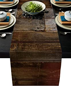 Linen Burlap Table Runner 18x72 Inches Long, Brown Old Wooden Board Farmhouse Table Cloth Dresser Scarf for Holiday Parties, Dining Room, Home Kitchen, Wedding Decorations