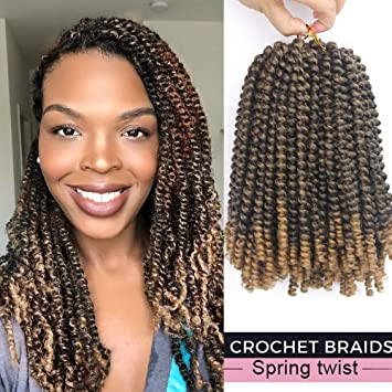 Liyate 3 Packs Spring Twist Crochet Braids Hair 8 Inch Ombre Colors Black Blonde Synthetic Jamaican Bounce Short Fluffy Afro Spring Twist Braiding