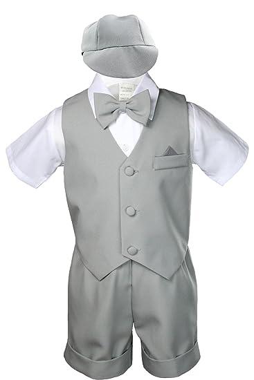 8e6955a9a Amazon.com  Gray Infant Boys Toddler Eton 5pc Formal Vest Shorts Set ...