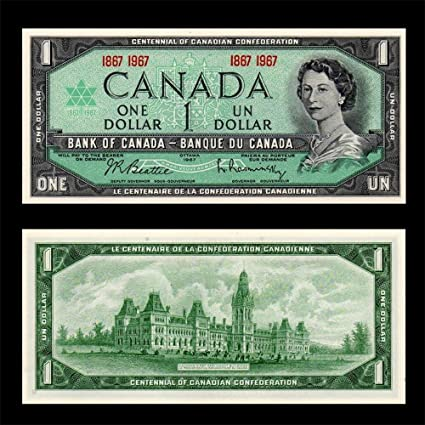 1967 BANK OF CANADA $1 DOLLAR NOTE ***UNCIRCULATED*** NO SERIAL NUMBER -  AUTHENTIC BANKNOTE ISSUE - AMAZING CHRISTMAS GIFT IDEA THAT INCREASES IN