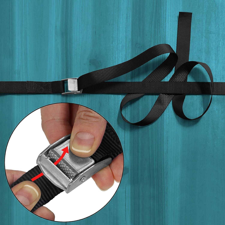 Sangle /à griffe sangle darrimage Sangle de fixation charge maximale 250 kg DIN EN 12195-2 Pi/èces:Paquet de 4 pi/èces 2.5 cm x 6 m Noir