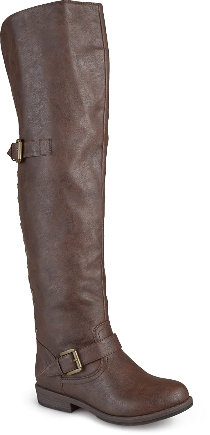 Journee Collection Women's Studded Over-the-knee Inside Pocket Buckle Boots B013X0YAMW 11 Wide|Brown
