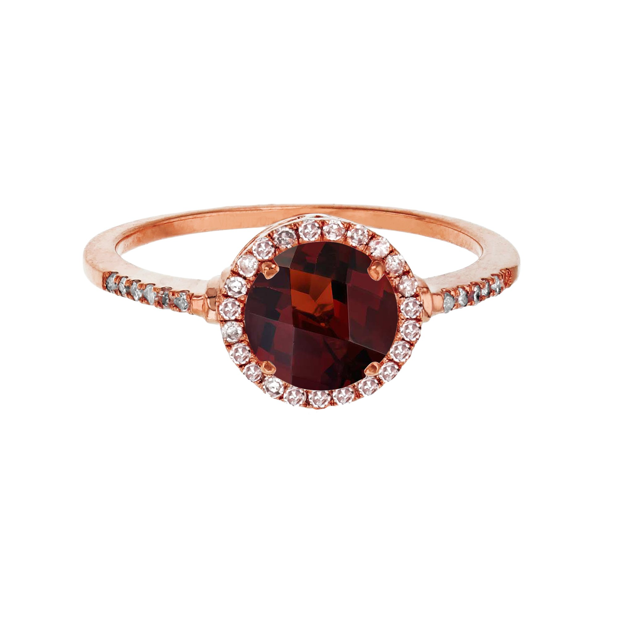 14K Rose Gold 7mm Round Garnet & 0.18 CTTW Diamond Halo Ring by Decadence