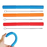 FINEWEN Hollow Teether Tubes,7.78 inches Long , Helps Soothe Teething, Durable Safe Silicone for Babies