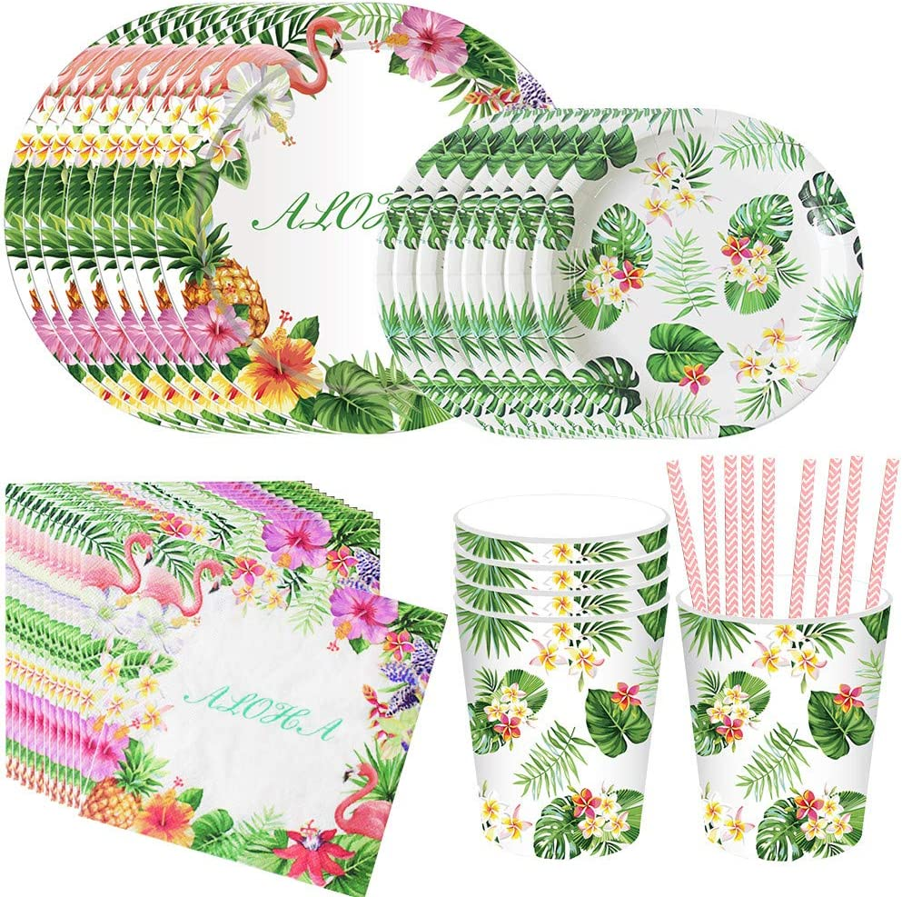 DreamJ 93Pack Hawaiian Party Supplies, Hawaiian Luau Party Disposable Tableware with Plates Cups Napkins Straws for Birthday and Summer Jungle Parties Serves 16