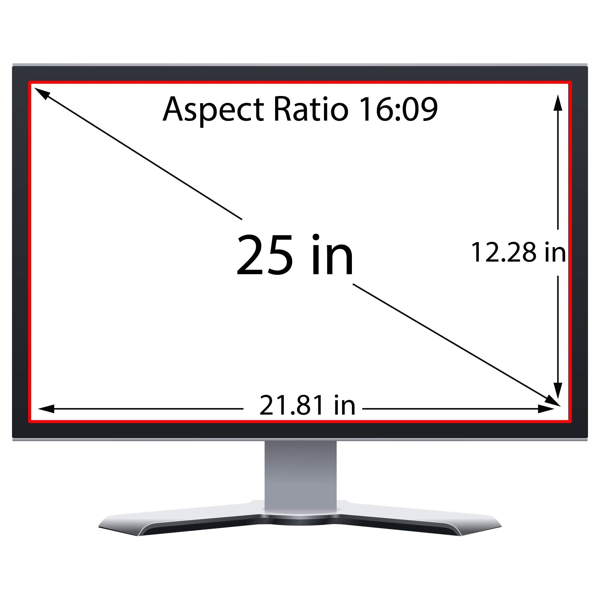 Privacy Screen Filter and Anti Glare for 25 Inches Desktop Computer Widescreen Monitor with Aspect Ratio 16:09 Please check Dimension Carefully