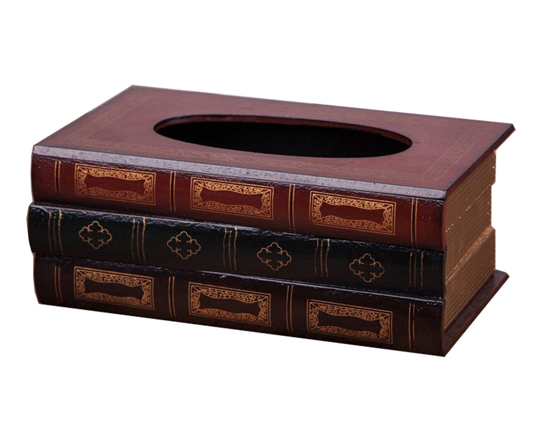 HEYFAIR Book Tissue Box Holder Decorative Paper Cover Case Napkin Holder Facial Tissue Dispenser Box Cover (green) amf16062101green