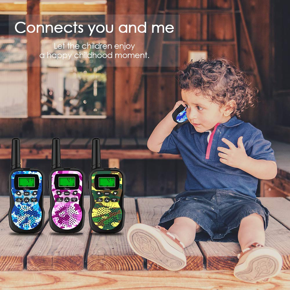Huaker Kids Walkie Talkies,3 Pack 22 Channels 2 Way Radio Toy with Flashlight and LCD Screen ,3 Miles Range Walkie Talkies for Kids Outside Adventures, Camping, Hiking by Huaker (Image #6)