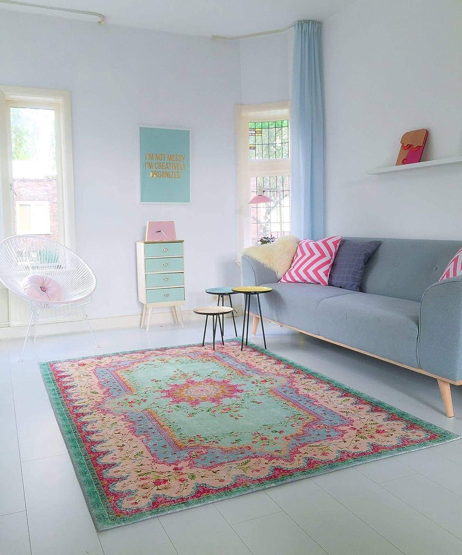 Rozenkelim Teppich | im angesagten Shabby Chic Look | für Wohnzimmer, Schlafzimmer, Kindergarten | Pastell (180cm x 120cm)