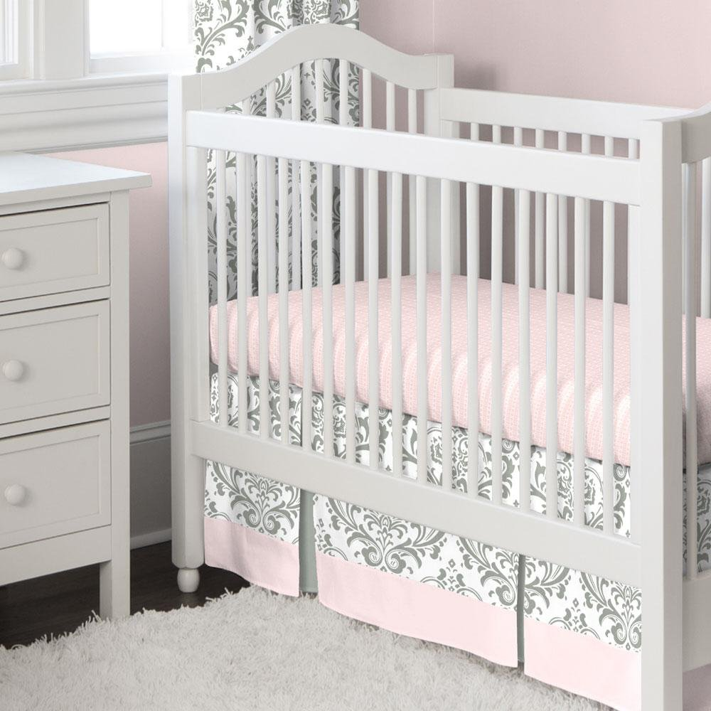 Carousel Designs Pink and Gray Traditions Crib Skirt Two Front Pleats 20-Inch Length