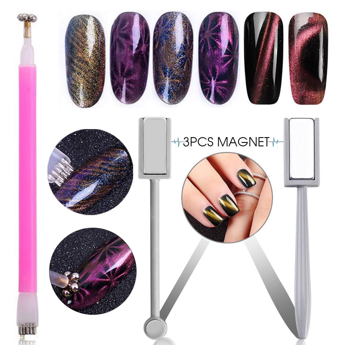 Amazon.com: Saviland 3pcs Magnet Pen Magnetic Stick Nail Art Design ...