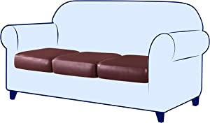 subrtex Stretch Cushion Cover Leather Couch Cushion Cover Waterproof Seat Cover RV Chair Loveseat Sofa Furniture Protector PU Slipcover for Settee Seater Replacement (3pack,Wine)