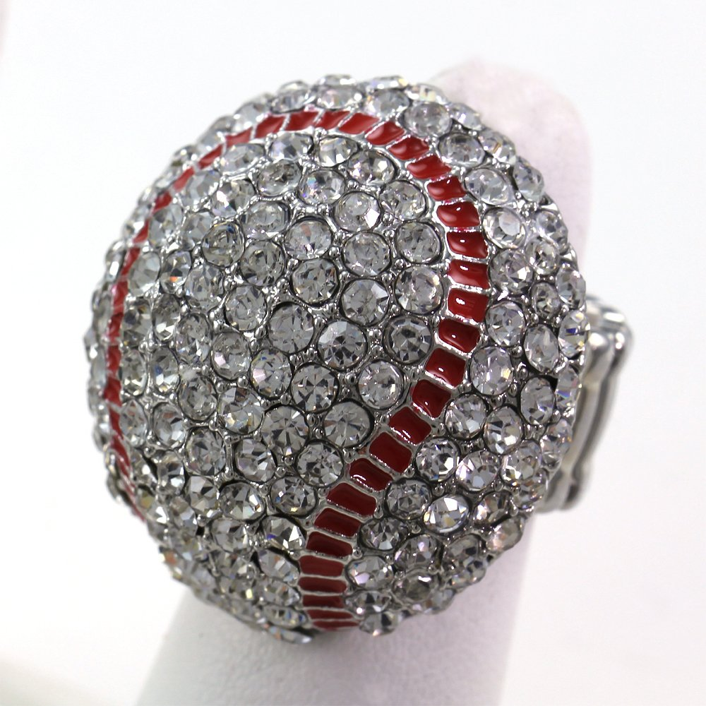 Baseball Sports Ring Red Enamel Clear Rhinestones by Soulbreezecollection (Image #2)