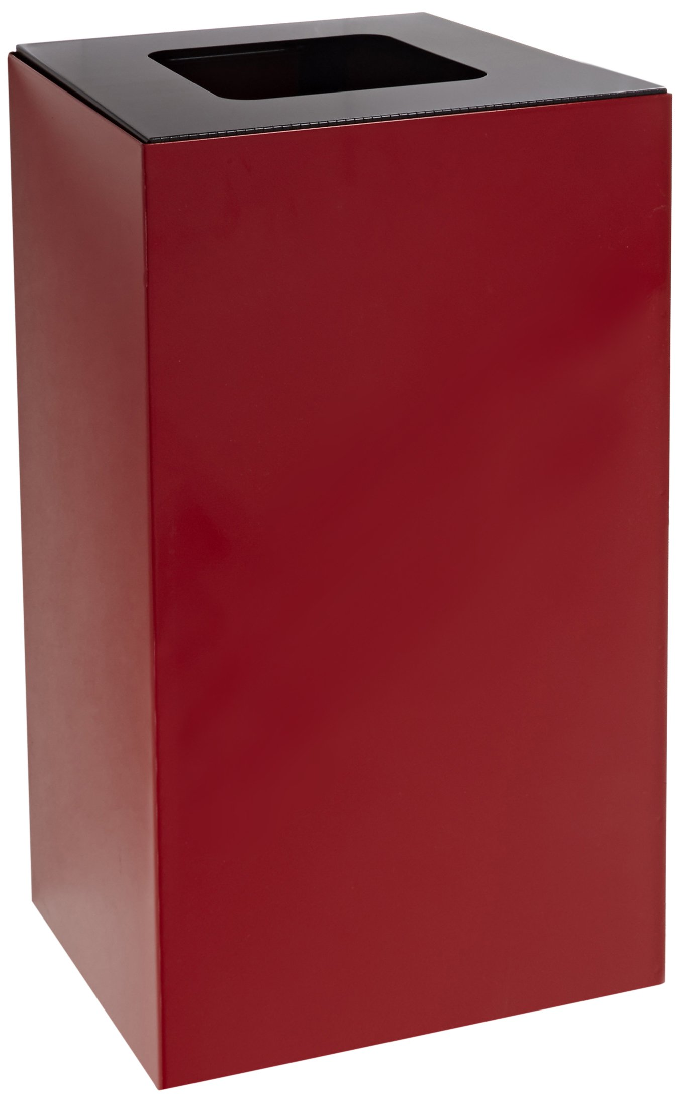 Witt Industries 28GC03-SC Steel 28-Gallon Geo Cube Recycling Container, Square Opening, Legend ''Waste'', Square, 15'' Width x 15'' Depth x 28'' Height, Scarlet Red by Witt Industries