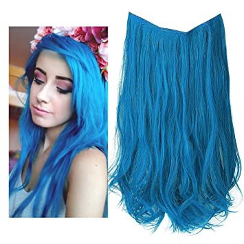 Blue Colored Hair Extension Hairpiece Highlight Party Streak No Clip in  Long 18 quot  Wave Halo a34c6b33d7