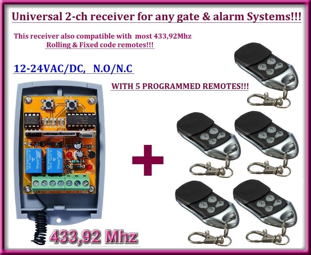 Universal 2-canales receptor + 5 mandos a destancia, Para operar cualquier automatismo de puerta de garaje / sistema de alarma / algunos otros dispositivos 12-24V DC, 433,92MHz NO/NC