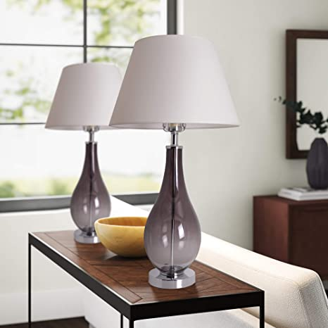 Table Lamps For Living Room Set Of 2 Gray Ombre Glass 28 Inch