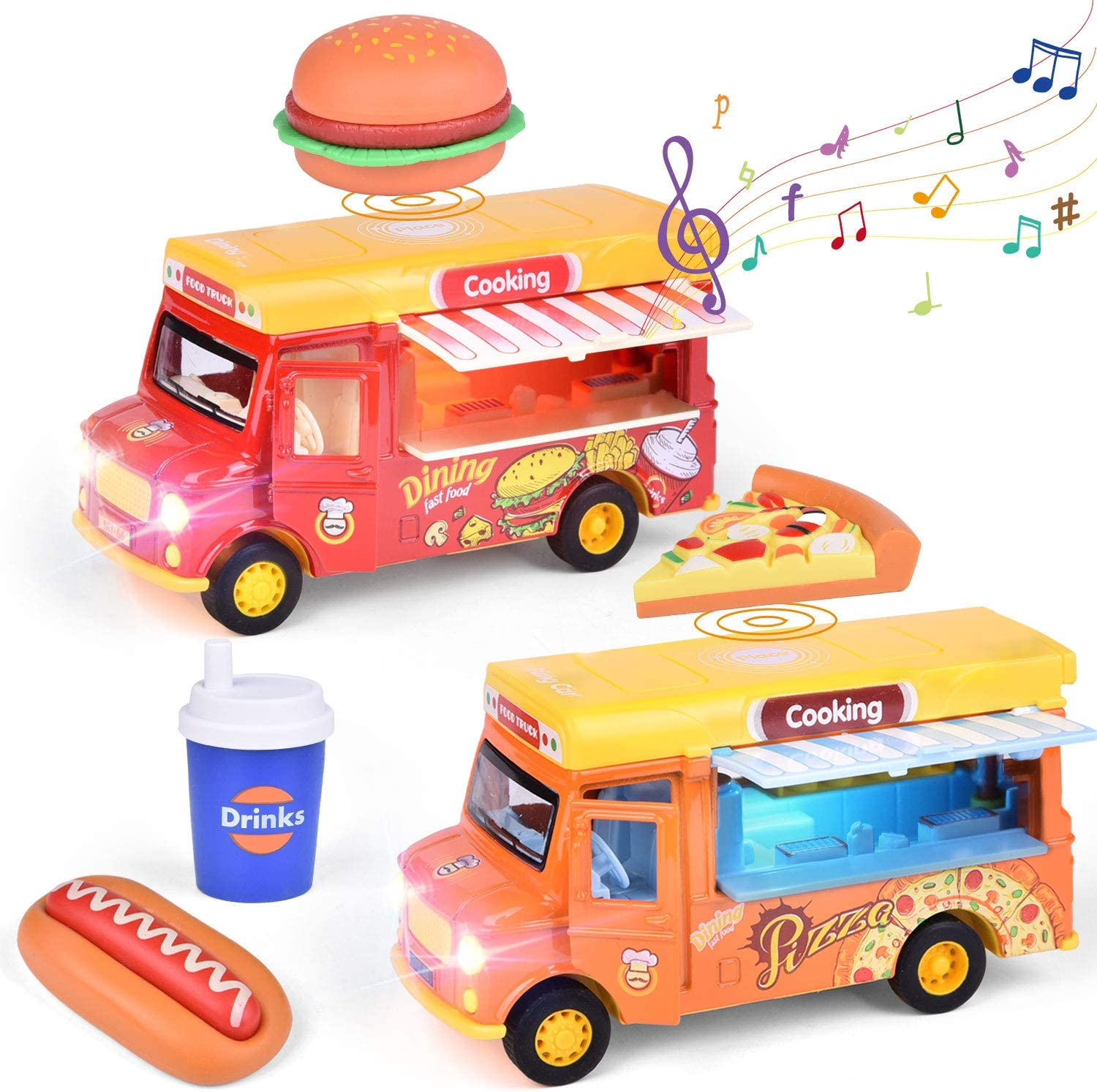 FUN LITTLE TOYS 2 Pack Pull Back Cars Food Trucks with Music and Light, Die-Cast Cars Gift for Toddler Girls and Boys