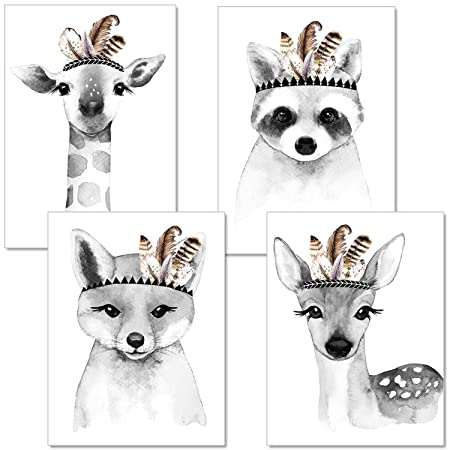 artpin® 4er-Set Poster Kinderzimmer Wohnzimmer Schwarz Weiß - A4 Bilder Babyzimmer Im Skandinavischen Stil - Mädchen Junge -