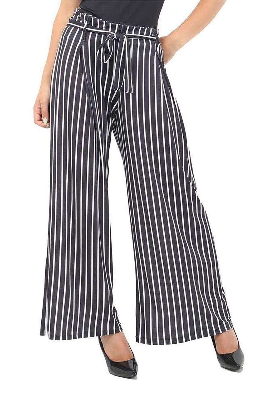 Pantalón de Mujer con diseño de Rayas y Lunares, con cinturón ...