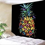 Colorful Pineapple Tapestry Wall Hanging, Psychedelic Hippie Trippy Tapestries Tropical Wall Bedroom Home Decor, 80 X 60, Large
