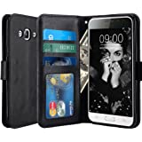 J3 Case, LK Luxury PU Leather Wallet Case Flip Cover with Card Slots & Stand For Samsung Galaxy J3 2016 - Black