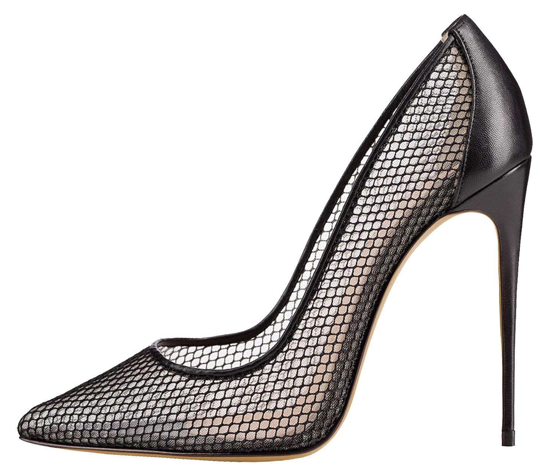 DYF Les Femmes Belles Chaussures Bouche Peu Profonde Sharp Lattice,12cm,45,Creux Noir