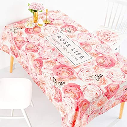 63c12e6658a Amazon.com: YI KUI Tablecloths Home Pink Flowers Refreshing Rural Cotton  and Linen Table Cover Art Rectangular Tea Tablecloth Round Tablecloth  Barbecue: ...
