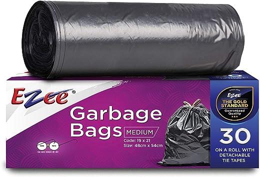 Ezee Plastic Garbage Bag - 19X21 Inch, 90 Piece,medium, Black, 3 Piece