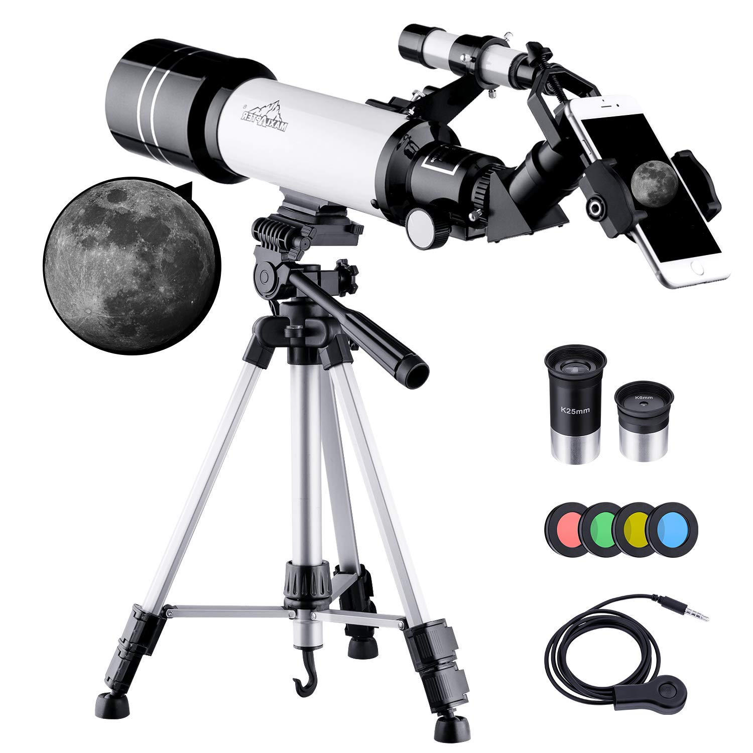 MAXLAPTER Kids Telescope for Adults Astronomy Beginners, 70mm Travel Refractor Telescope with Adjustable 47inch Tripod, Smartphone Adapter, Camera Shutter Wire Control, Backpack and Moon Filter by MAXLAPTER