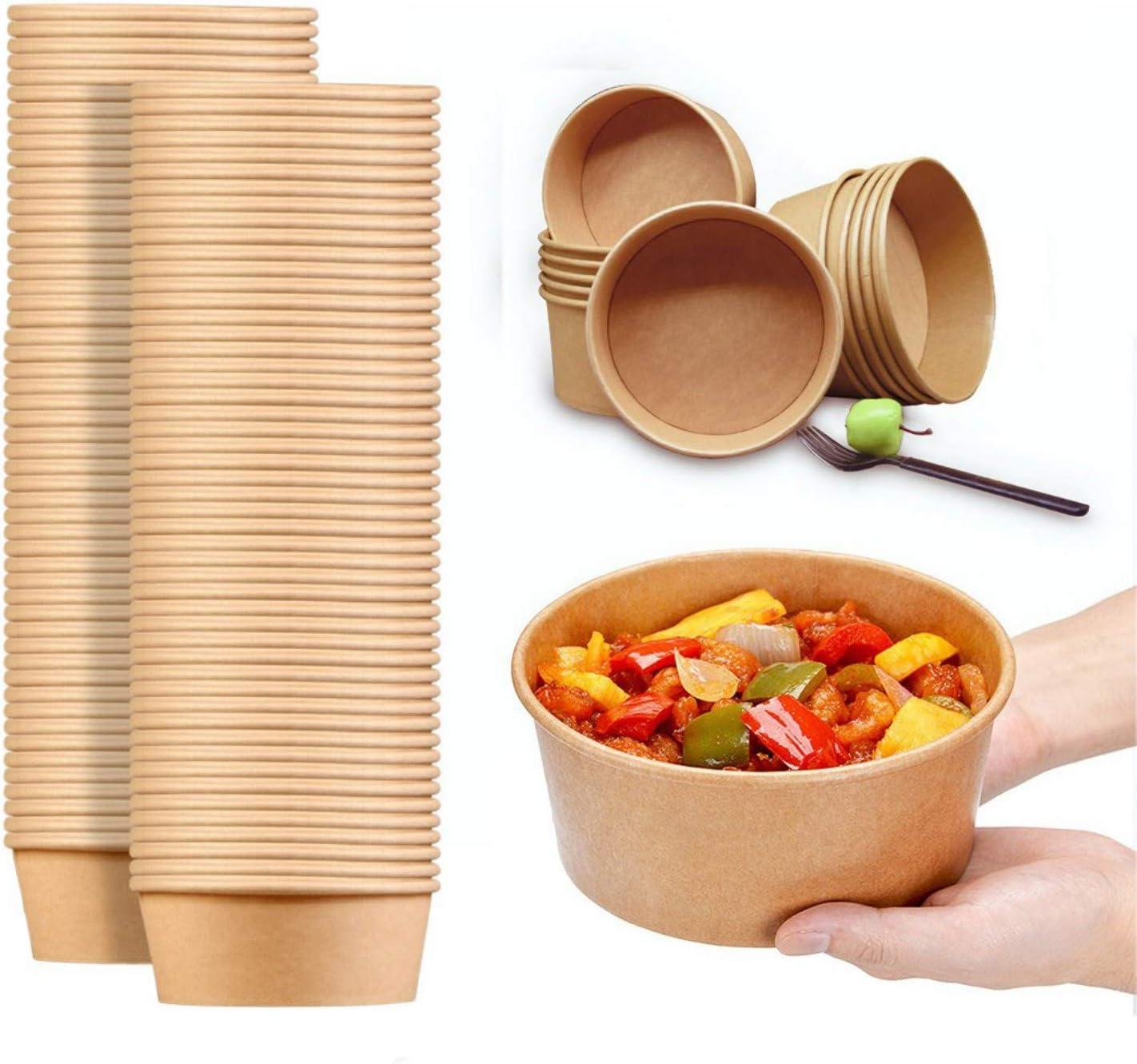 30 Oz Large Paper Bowls, 80 count Disposable Soup Bowls Plastic Free Party Supplies for Hot/Cold Food, Soup (30)