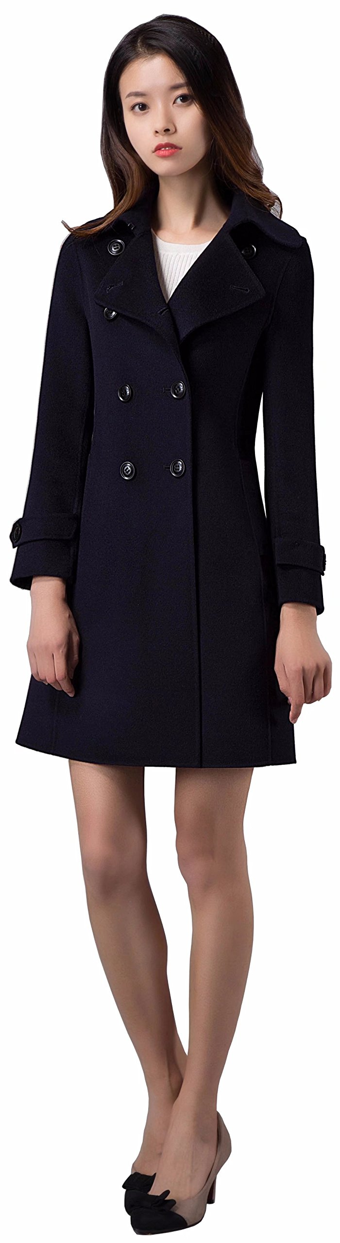 Spring Air Women Long Double Faced 100% Wool Fashion Coat With Side Open Pocket