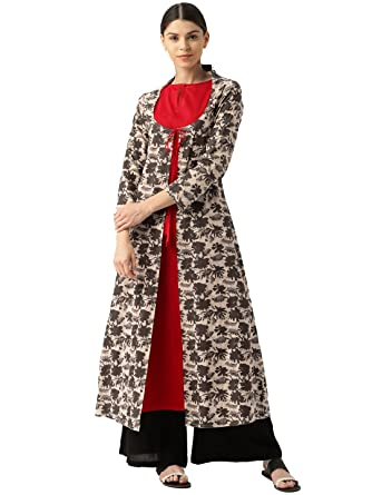 5a02d6ac644 Jaipur Kurti Women s A-Line Fron Slit Cotton Kurta with Red Shrug (DF1005-