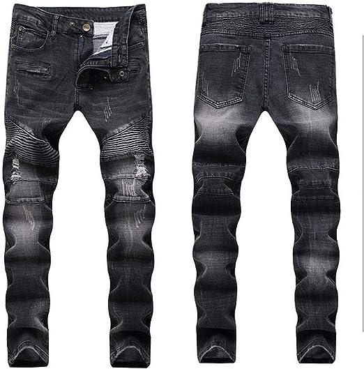 新しい男性ジーンズランウェイスリムレーサーバイカージーンズヒップホップスキニージーンズ用男性デニムジョガーパンツ