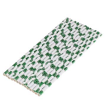 Amosfun 50 piezas de papel que beben pajitas desechables Monstera ...