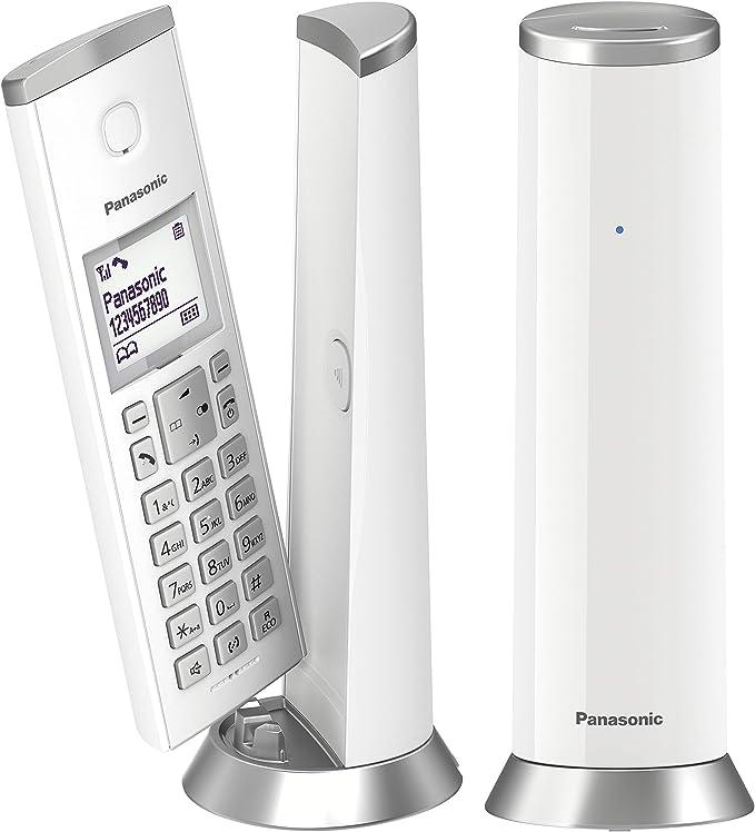 Panasonic KX-TGK212JTW - Teléfono inalámbrico DECT con LCD de 1,5 Pulgadas, retroiluminación Blanca, Sonido polifónico, Bloqueo de Llamadas indeseadas, Modo Eco y Eco Plus, Blanco: Amazon.es: Electrónica
