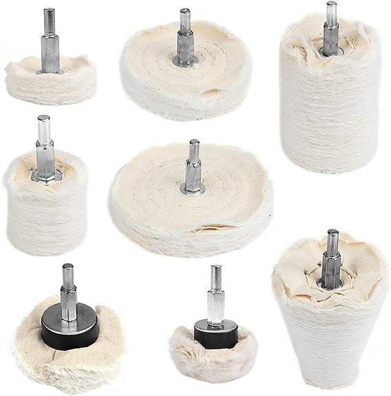 Tampon de Polissage Roue Blanche Roue /à polir pour Outil de polisseur de broyeur WiMas 8PCS Coton Disque de Polissage