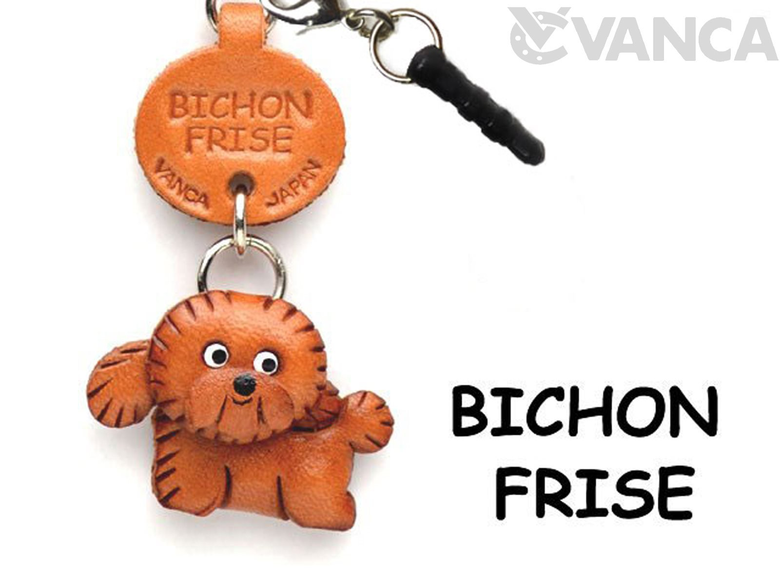 Bichon Frise Leather Dog Earphone Jack Accessory / Dust Plug / Ear Cap / Ear Jack *VANCA* Made in Japan #47707