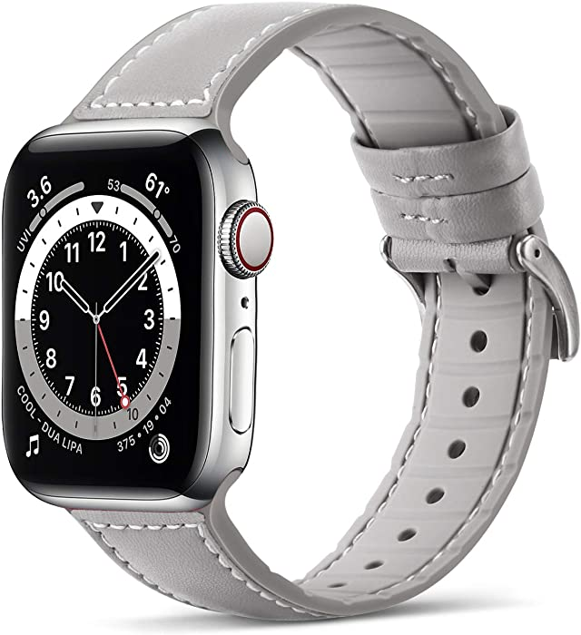 Tasikar Bands Compatible with Apple Watch Band 42mm 44mm, Genuine Leather with Soft Silicone Hybrid Design Replacement Strap Compatible with Apple Watch SE Series 6 5 4 3 2 1- (42mm 44mm, Gray)
