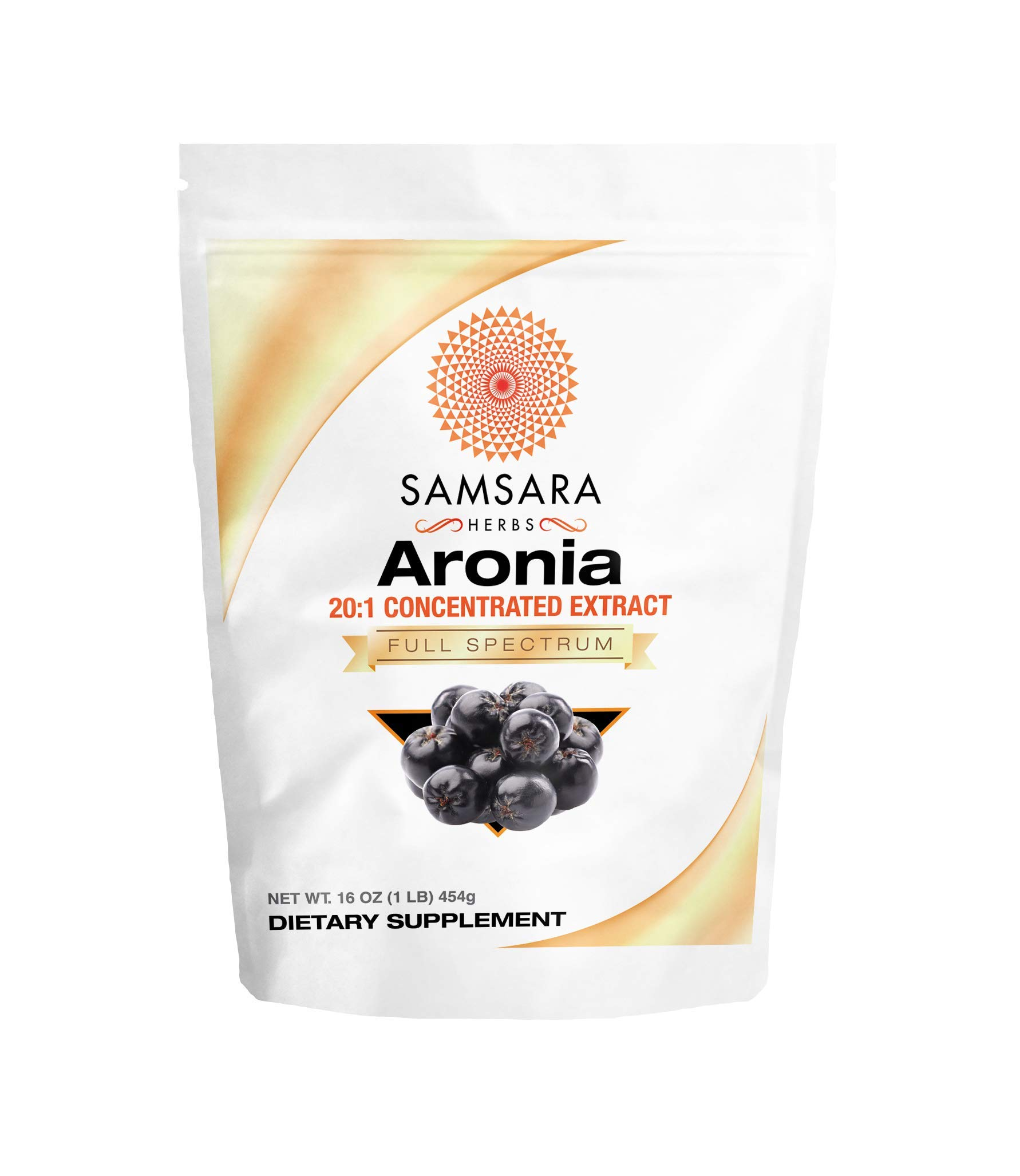 Samsara Herbs Aronia Berry Extract Powder 20:1 Concentration - (16oz/454g) Immune, Circulation, Antioxidants, Anti-inflammatory Supplements