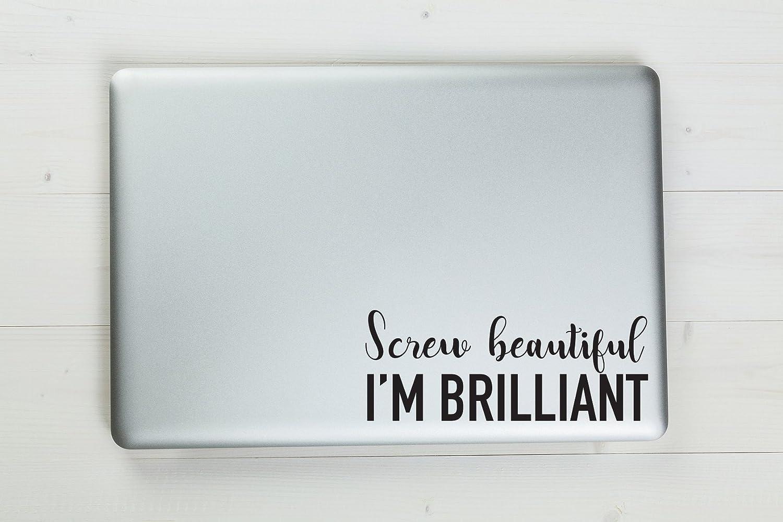"Screw Beautiful I'm Brilliant Christina Yang Quote Grey's Anatomy Vinyl Sticker Decal 6""x2.3"" (black)"