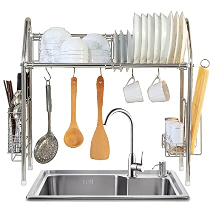 1208S Over The Sink Dish Drying Rack Over Sink Shelf Dish Drainer,  Stainless Steel