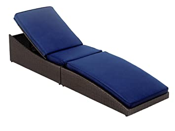Folding Wicker Chaise Lounge Chair With Navy Blue Cushion