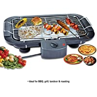Inditradition Electric Barbecue Grill Tandoor Roaster, 2000W, Adjustable Temperature, Flat Chrome Grill, Black