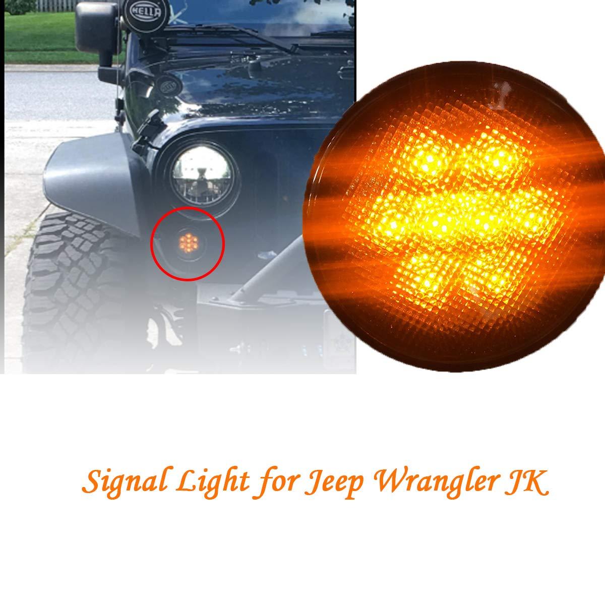 RONSHIN Automotive 1 Paire de Clignotants Avant LED Ambre pour Jeep Wrangler JK 2007-2017