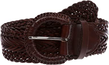 Round Braided Woven Vintage Distressed Leather Belt 50 mm Womens 2