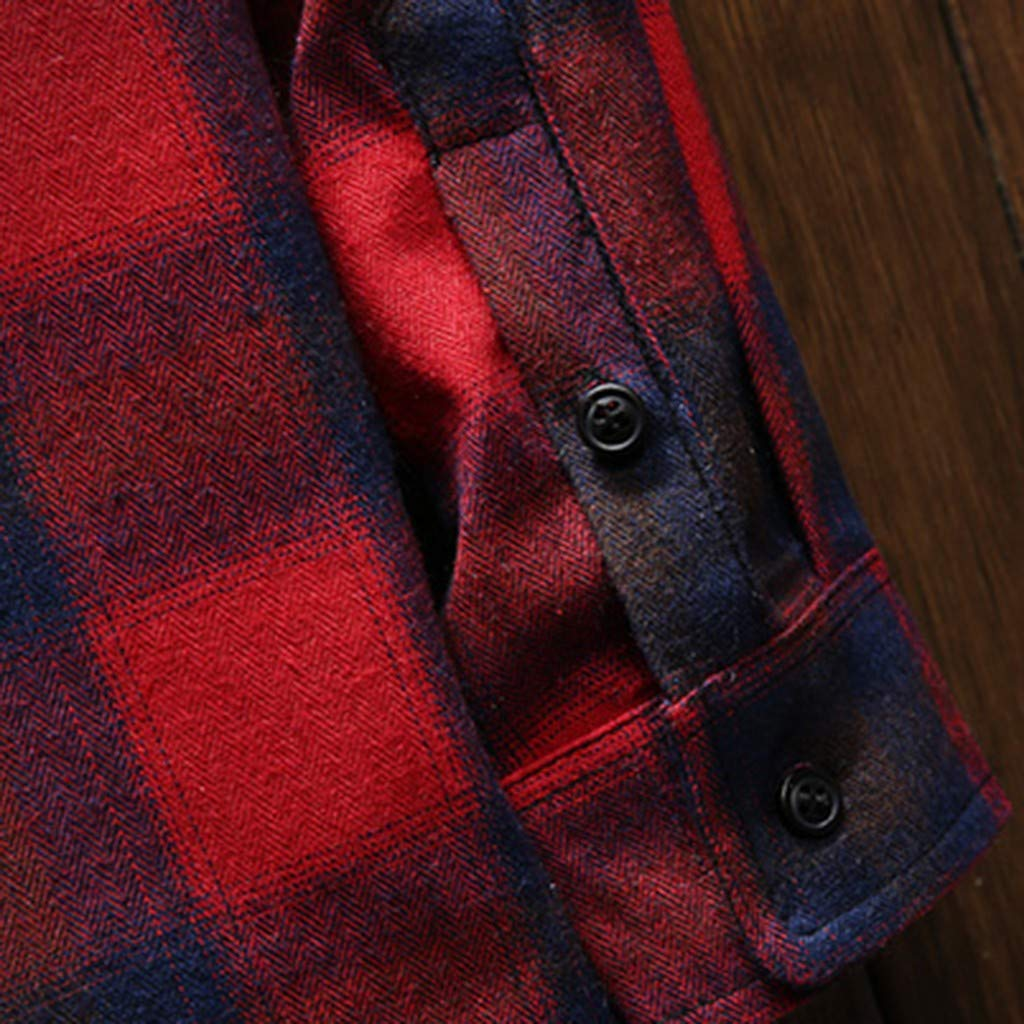 Mens Plaid Shirt Long-Sleeved Pocket Slim Fit Lightweight Tops Casual Shirts for Mens