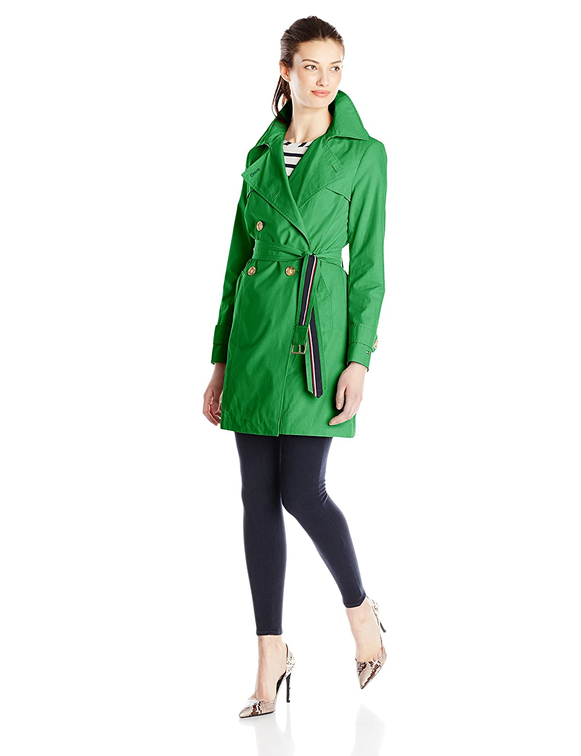 Tommy Hilfiger Women's Double-Breasted Trench Coat with Striped Belt TW5MC008