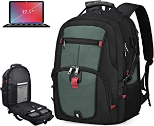 Laptop Backpack 17 Inch Waterproof Extra Large TSA Travel Backpack Anti Theft College School Business Mens Backpacks with USB Charging Port 17.3 Gaming Computer Backpack for Women Men 45L Greygreen